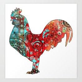 Stern Rooster Art Print