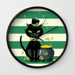 Black cat in bow tie and hat with green shamrock Wall Clock
