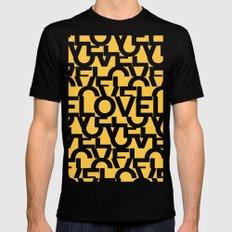 Hidden yellow LOVE message MEDIUM Black Mens Fitted Tee