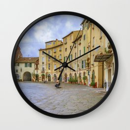Piazza Anfiteatro, Lucca City, Italy Wall Clock