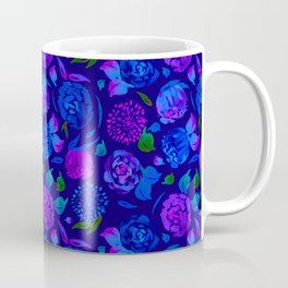 Watercolor Floral Garden in Electric Blue Bonnet Coffee Mug