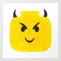 Emoji Minifigure Devil Art Print