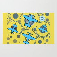 airplanes Area & Throw Rugs featuring blue airplanes by Isabella Asratyan
