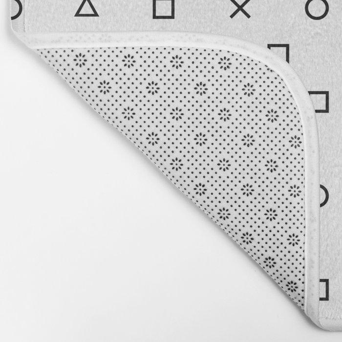 Playstation Controller Pattern (Black on White) Bath Mat