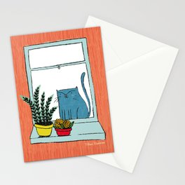 Cat by the window Stationery Cards