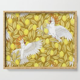 Vintage Pattern, Lemons and Birds, 1897 Serving Tray