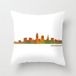 Cleveland City Skyline Hq V1 Throw Pillow