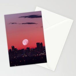 Super Moon City // View of Downtown Denver Colorado Redish Blue Skyline Stationery Cards
