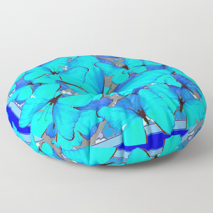 Shades of Turquoise Blue Butterflies Swarming Art Floor Pillow