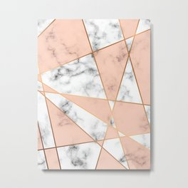 Marble texture design with golden geometric lines Metal Print