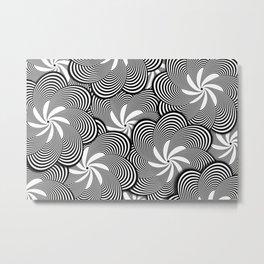 Fun Black and White Flower Pattern - Digital Illustration - Graphic Design Metal Print