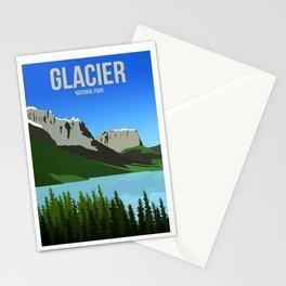 Glacier National Park - Travel Poster -  Minimalist Art Print Stationery Cards