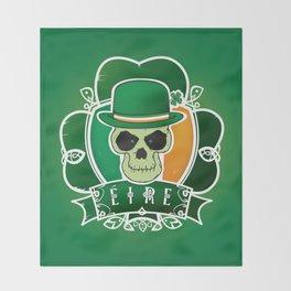 Lucky Irish  skull Throw Blanket
