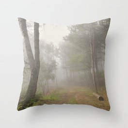 Dream forest. Into the foggy woods. Sierras de Cazorla Throw Pillow
