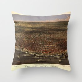 The city of St. Louis by Parsons & Atwater (1874) Throw Pillow