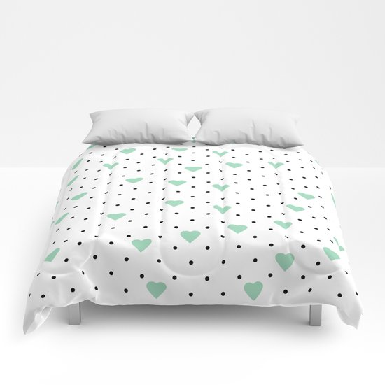 Pin Point Hearts Mint Comforters