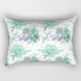 Succulents Mint Green Lavender Lilac Violet Pattern Rectangular Pillow