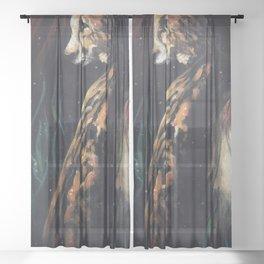 Jaguar Watching // Wild Animal Jungle Cat Leopard Tiger Forest Power Spirit Energy Sheer Curtain