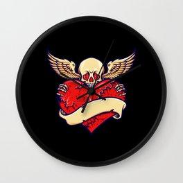 Broken Heart Skull Valentine skull with wings Wall Clock