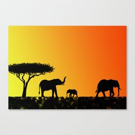 Elephants in the savanna Canvas Print