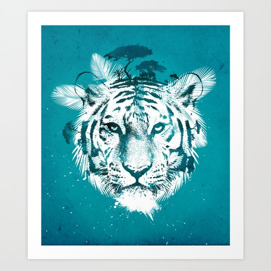 White Tiger Art Print