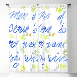 Men of sense do not want silly wives - Blue and Green Palette Blackout Curtain