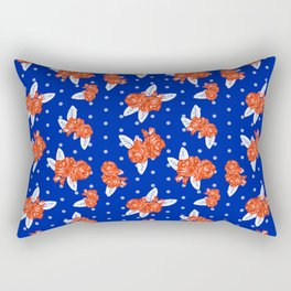 Florida fan gators university orange and blue team spirit football college sports florals Rectangular Pillow