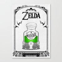 the legend of zelda Canvas Prints featuring Zelda legend - Green potion  by Art & Be