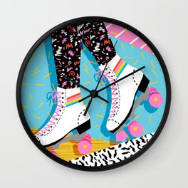 Steeze - 80's memphis rollerskating rad neon trendy art gifts throwback retro vibes Wall Clock