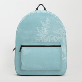 White Coral on Pale Blue Backpack