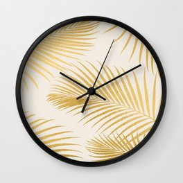 Metallic Gold Tropical Palm Fronds Wall Clock