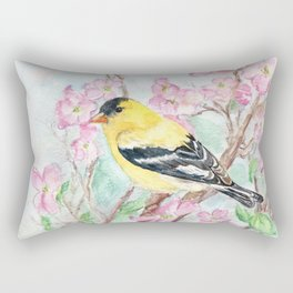 Goldfinch and Dogwood Flowers Rectangular Pillow