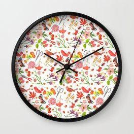 Red Repeat Gardening Wall Clock