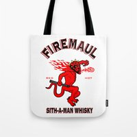 whisky Tote Bags featuring Firemaul Whisky by Ant Atomic