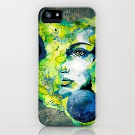Esther Green (Set) by carographic watercolor portrait iPhone Case
