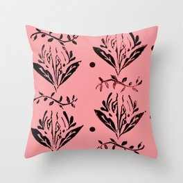 Cala Lily stamp pattern - in magenta red  Throw Pillow