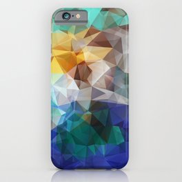 Abstract background of triangles polygon print. Bright design colors iPhone Case