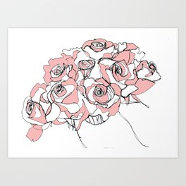 Continuous Line of Roses Art Print