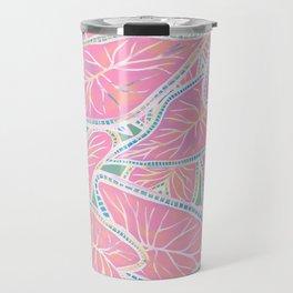 Tropical Caladium Leaves Pattern - Pink Travel Mug
