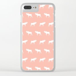 Moose pattern minimal nursery basic peach and white camping cabin chalet decor Clear iPhone Case