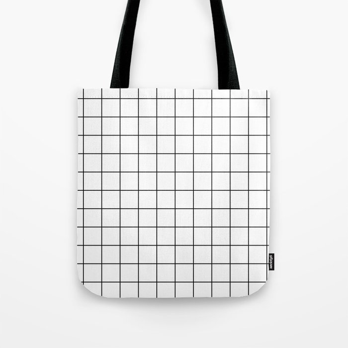 Grid Stripe Lines Black and White Minimalist Geometric Tote Bag