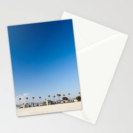 Beach front homes along the sand at Belmont Shore, CA Stationery Cards