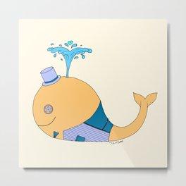 Steampunk Whale (Orange) Metal Print