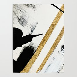 Armor [8]: a minimal abstract piece in black white and gold by Alyssa Hamilton Art Poster