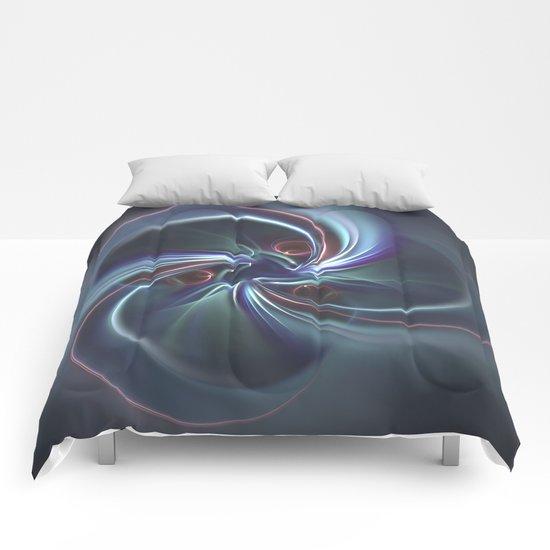 Moons Fractal in Cool Tones Comforters