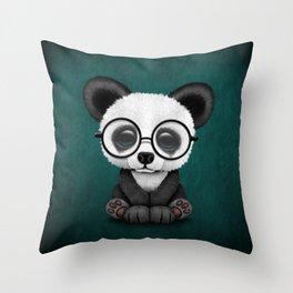 Cute Panda Bear Cub with Eye Glasses on Teal Blue Throw Pillow