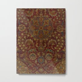 Boho Funky I // 16th Century Distressed Red Green Blue Flowery Colorful Ornate Rug Pattern Metal Print