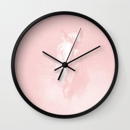 Horse emerging from the baby pink mist Wall Clock