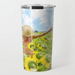 Woman Free in Sunflower Field Travel Mug