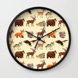 Cartoon mountain animals pattern Wall Clock